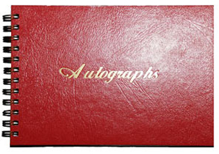 Red Stock Imprint Wire-Bound Autograph Books
